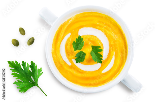 Poster de jardin Montagne Pumpkin soup in white bowl on a white isolated background