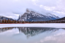 Cold Winter Morning At Vermilion Lakes In The Canadian Rockies Of Banff National Park