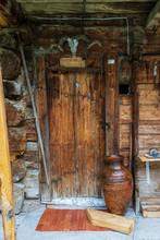 Sheep Skull Nailed To A Wooden Door. Savsat, Artvin  - Turkey