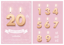 Burning Number 20 Birthday Candles With Vintage Ribbon, Birthday Celebration Text On Textured Pink Backgrounds Postcard Format. Vector Vertical Twentieth Birthday Invitation Template And Numbers Set.