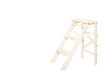 Wooden Chair - Wardrobe Ladder  Isolated On White Background