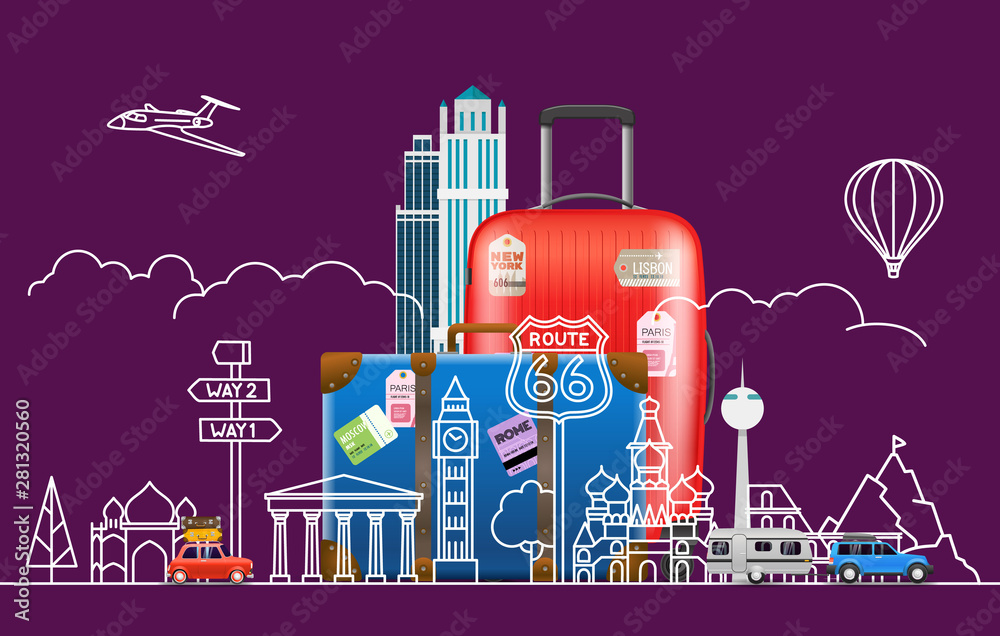 Fototapeta Travel concept. Vector illustration with famous sights and accessories