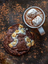 Hot Chocolate Cookies And Hot Chocolate With Marshmallows
