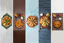 Collage From Different Pictures Of Fish Kabsa - Mixed Rice Dishes That Originates In Yemen. Middle Eastern Food