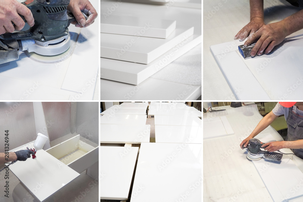 Fototapety, obrazy: Collage from different pictures of production cycle of painted parts in the furniture industry
