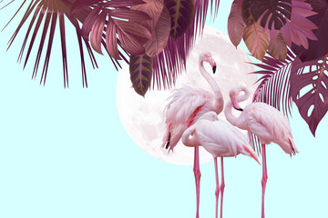 Fototapetamoon and flamingo background design with tropical leaves, can be used as background, wallpaper