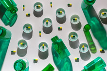 Empty Green Bottles And Capsules