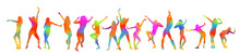 The Silhouette Of Dancing Girls Is Multicolored. Vector