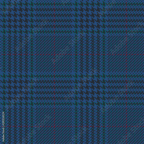 Photo  Blue glen check seamless pattern with green, black and red stripes