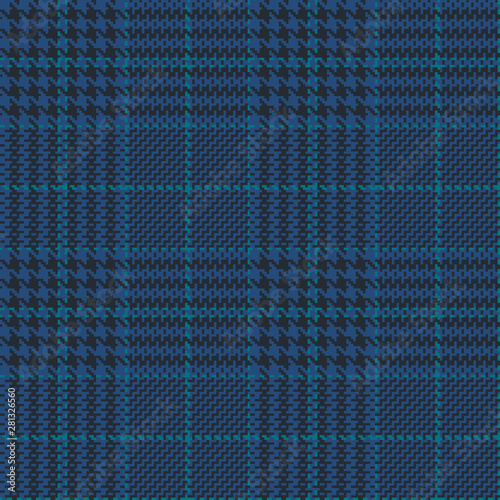Photo Blue glen check seamless pattern with green and black stripes