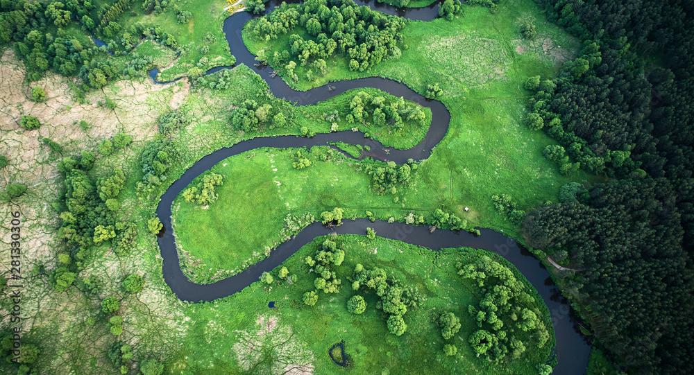 Fototapeta Aerial landscape - wild river in summer