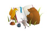 Fototapeta Fototapety na ścianę do pokoju dziecięcego - Animals reading book watercolor style vector illustration