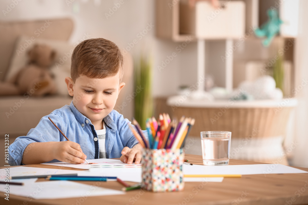 Fototapety, obrazy: Cute little boy painting at home