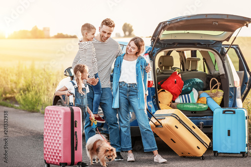 Fotografie, Tablou  Happy family with luggage near car outdoors