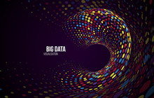 Big Data Visualization. Abstract Background With Dots Array And Binary Code. Connection Structure. Data Array Visual Concept. Big Data Connection Complex.