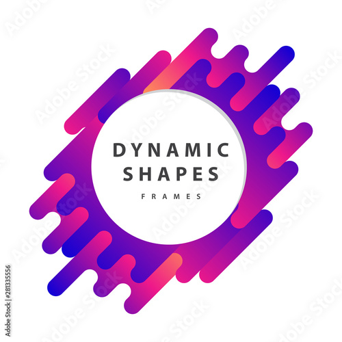 Fotomural  Dynamic wavy form with irregular parallel rounded lines frames