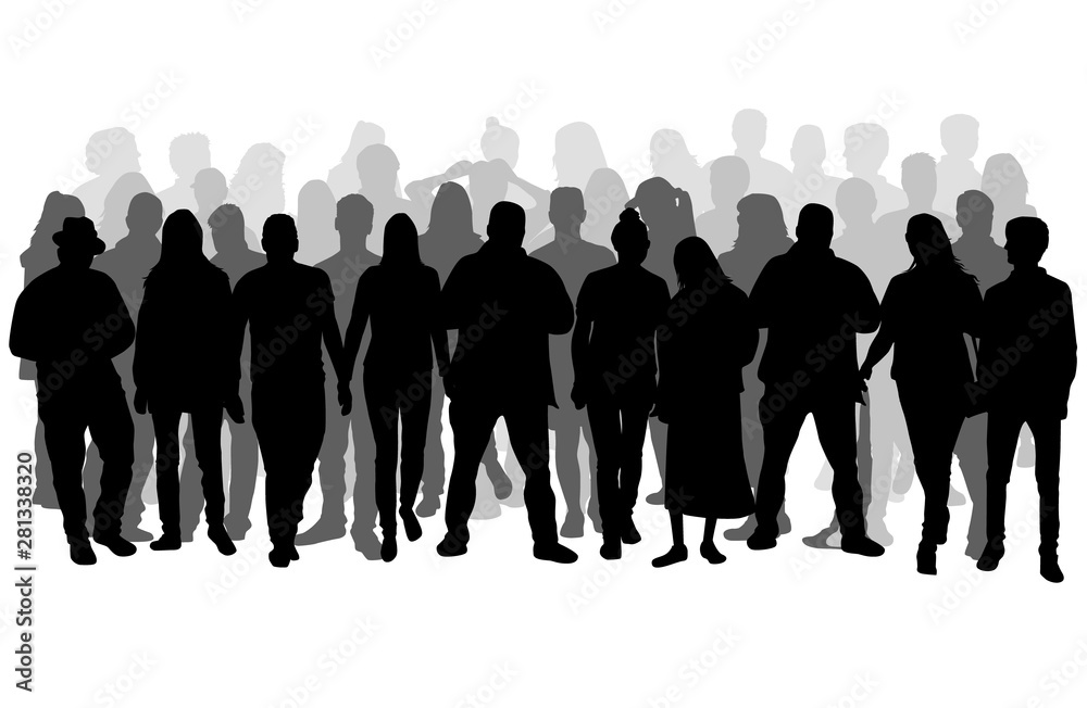 Fototapeta Group of people. Crowd of people silhouettes.