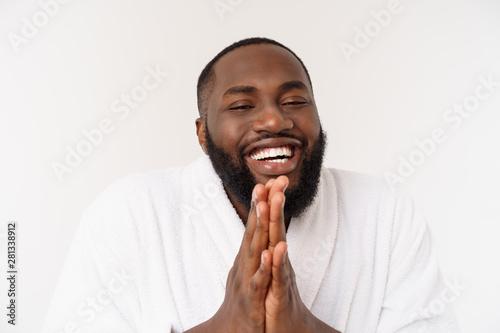 Carta da parati  Calm spiritual handsome African guy praying