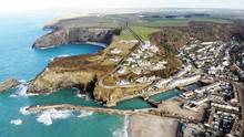 An Aerial Shot Of Portreath Harbour, Cornwall