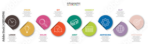 Vector infographic template with nine steps or options Obraz na płótnie