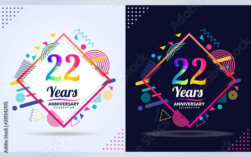 Fotografia  22 years anniversary with modern square design elements, colorful edition, celeb