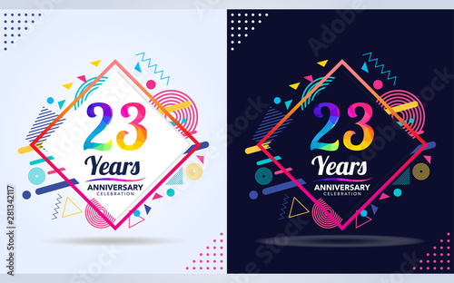 Papel de parede  23 years anniversary with modern square design elements, colorful edition, celeb