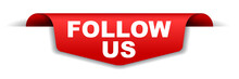 Red Vector Banner Follow Us