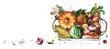 Wooden Tray With Vegetables. W...