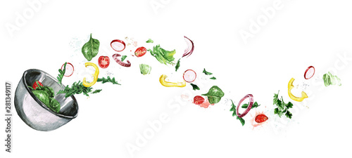 Poster Watercolor Illustrations Fresh Salad, flying ingredients. Watercolor Illustration