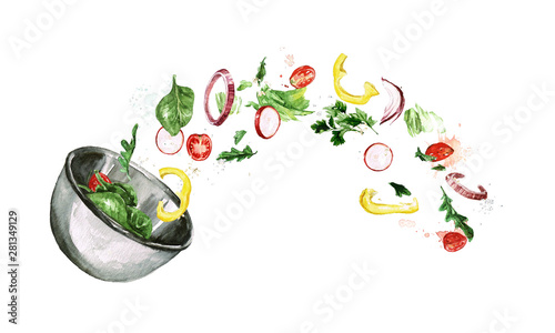 Montage in der Fensternische Aquarell Abbildungen Fresh Salad, flying ingredients. Watercolor Illustration