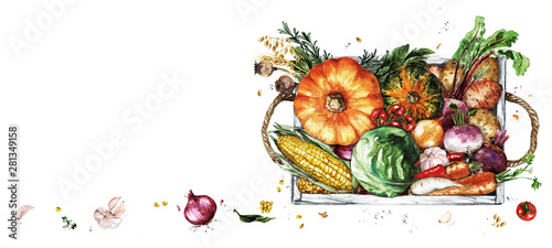 Tuinposter Waterverf Illustraties Wooden Tray with Vegetables. Watercolor Illustration