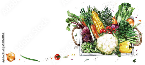 Ingelijste posters Waterverf Illustraties Wooden Tray with Vegetables. Watercolor Illustration