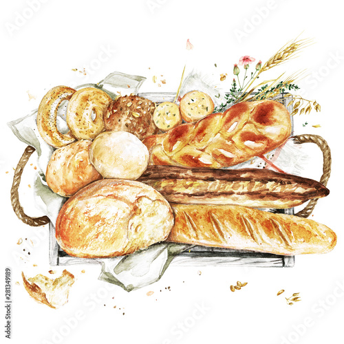 Ingelijste posters Waterverf Illustraties Wooden Tray with Bred. Watercolor Illustration