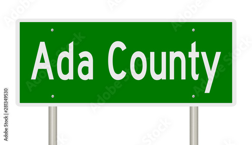 Rendering of a green highway sign for Ada County Idaho Wallpaper Mural