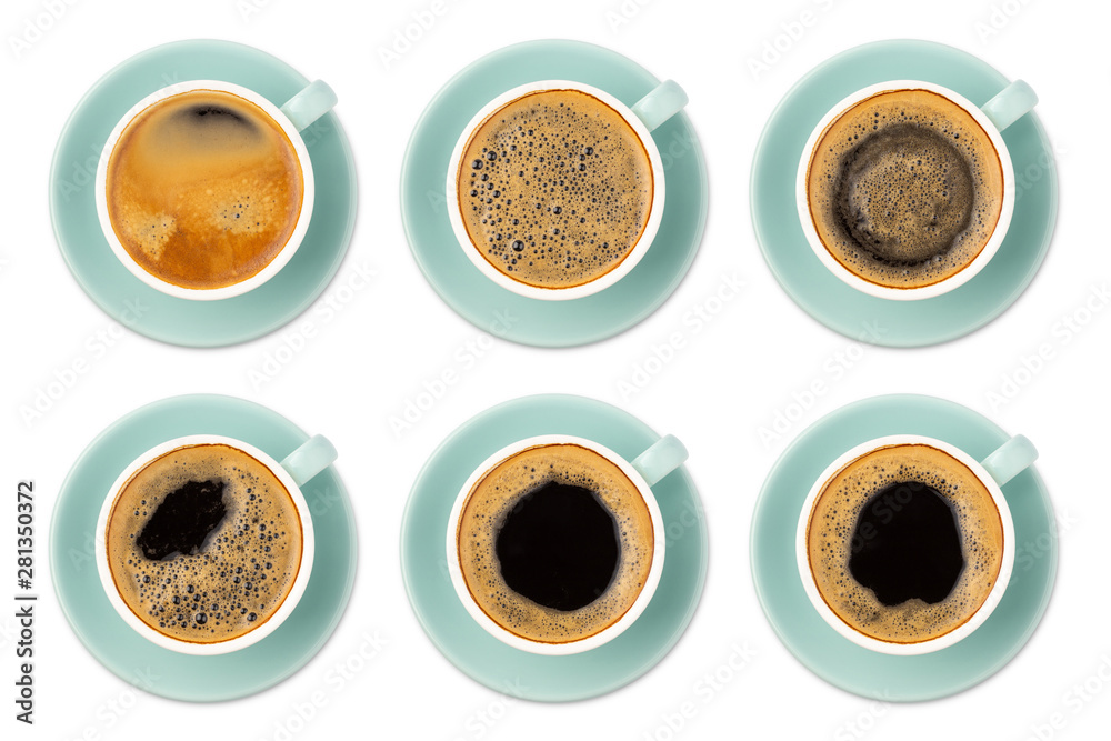 Fototapety, obrazy: Blue coffee cup assortment top view collection isolated on white background.