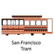 San-Francisco Tram Simple Illustration On White Background