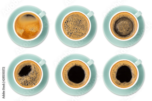 Blue coffee cup assortment top view collection isolated on white background. - 281350372
