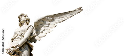 Fotografija White guardian angel marble sculpture with open long wings isolated on white wide panorama format background