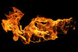 Fire flames isolated on black background, movement of fire flames
