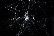 Texture Broken Glass With Cracks. Abstract Of Cracked Screen Smartphone From Shock.