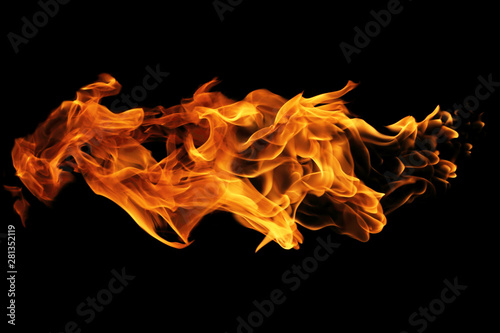 Foto auf AluDibond Feuer / Flamme Fire flames isolated on black background, movement of fire flames