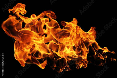 Photo sur Toile Feu, Flamme Fire flames isolated on black background, movement of fire flames