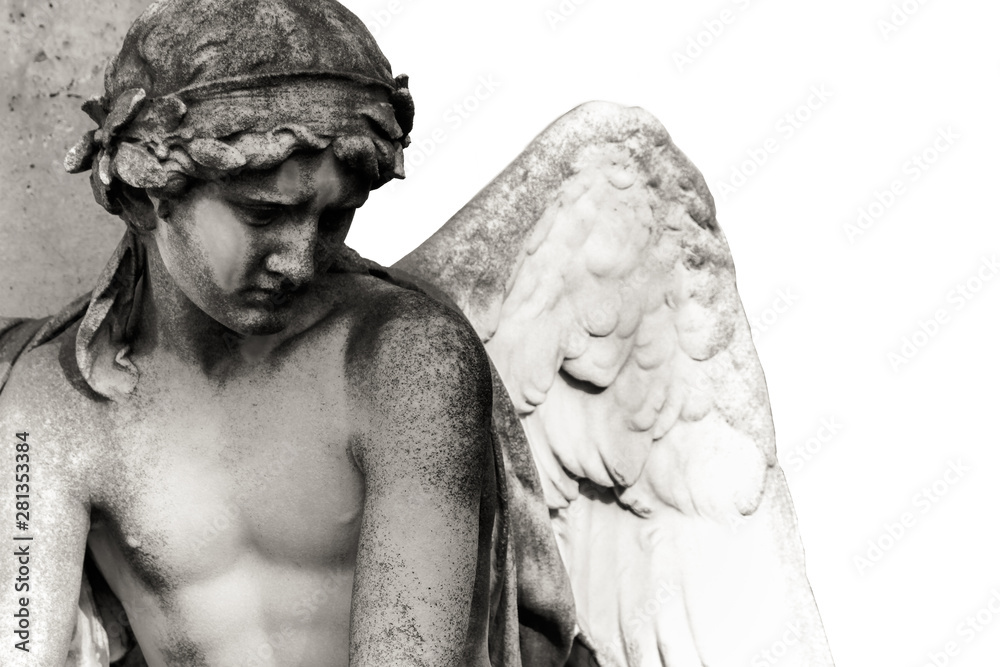 Fototapeta Sad guardian angel sculpture with open wings isolated on white background. The sad expression sculpture with eyes down thinking or crying. Black and white BW photography.