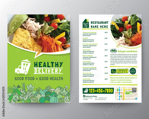 Fototapeta Food Delivery Flyer Pamphlet brochure design vector template in A4 size. Healthy Meal, Green color Restaurant menu template obraz