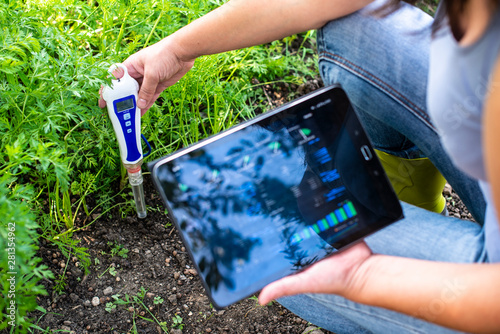 Poster Vegetal PH meter tester in soil. Measure soil with digital device and tablet. Woman farmer in a garden.