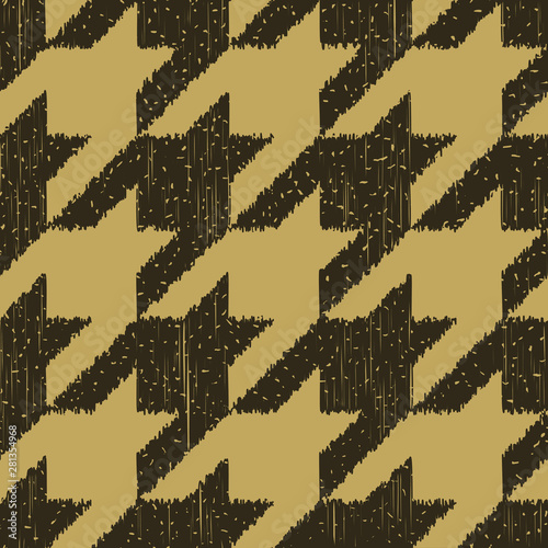 Seamless kraft paper brown and black grunge detailed ikat houndstooth textile pa Canvas Print