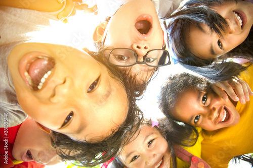 Fototapeta closeup Multi-ethnic group of schoolchildren face obraz