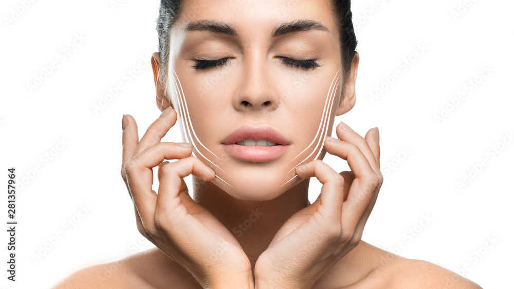 Fototapety, obrazy: Woman touching her face on white background.