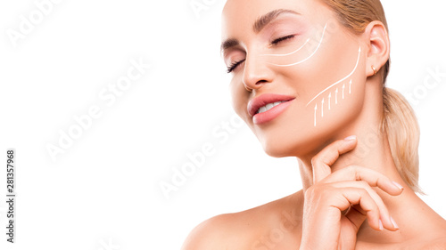 Acrylic Prints Spa Woman touching her face on white background. Close up portrait.