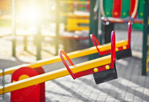 Swing balancer close-up on the playground outdoor Canvas Print